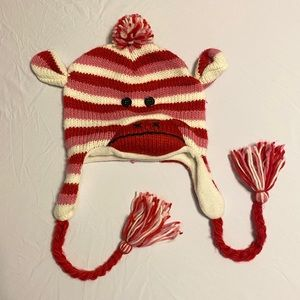 Sock Monkey Pink & Red Tassel Beanie One Size